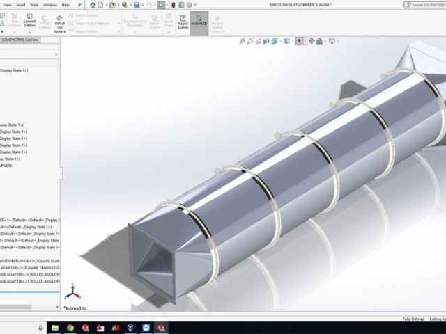"""SolidWorks 3D Model of a 60"""" Diameter x 30 Foot Long Explosion Duct"""